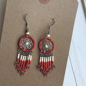 Red vintage dream catcher earrings beaded